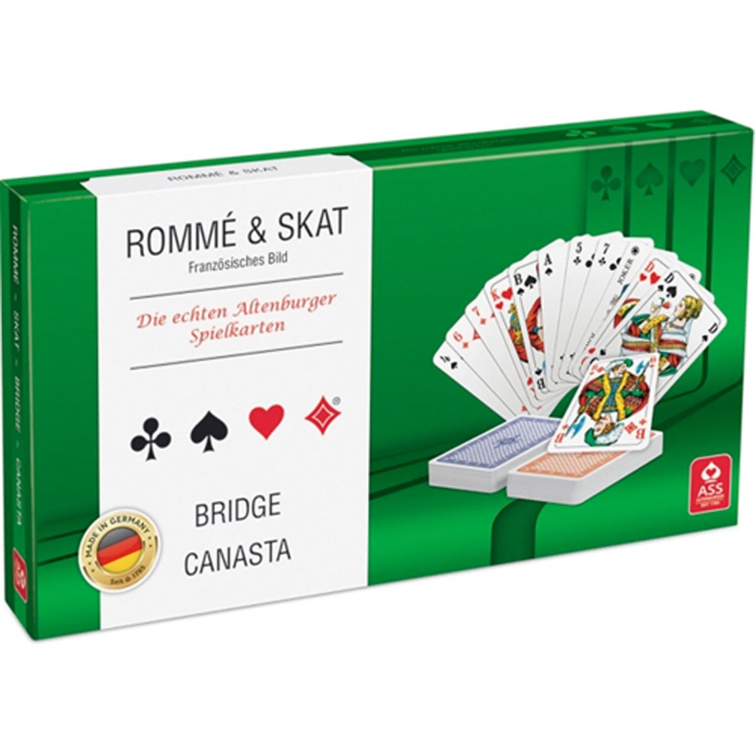 Spielkarten Rommé, Bridge, Canasta, Skat ASS