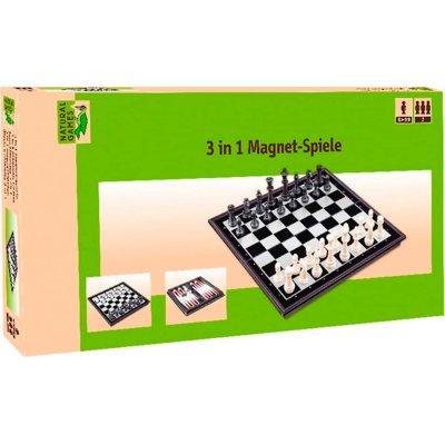 Schach, Dame, Backgammon - Natural Games 3-in-1 Magnetspiel